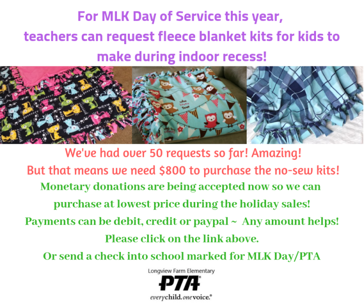 For MLK Day of Servicethis year, teachers can request fleece blanket kits for kids to makeduring indoor recess! (1).png