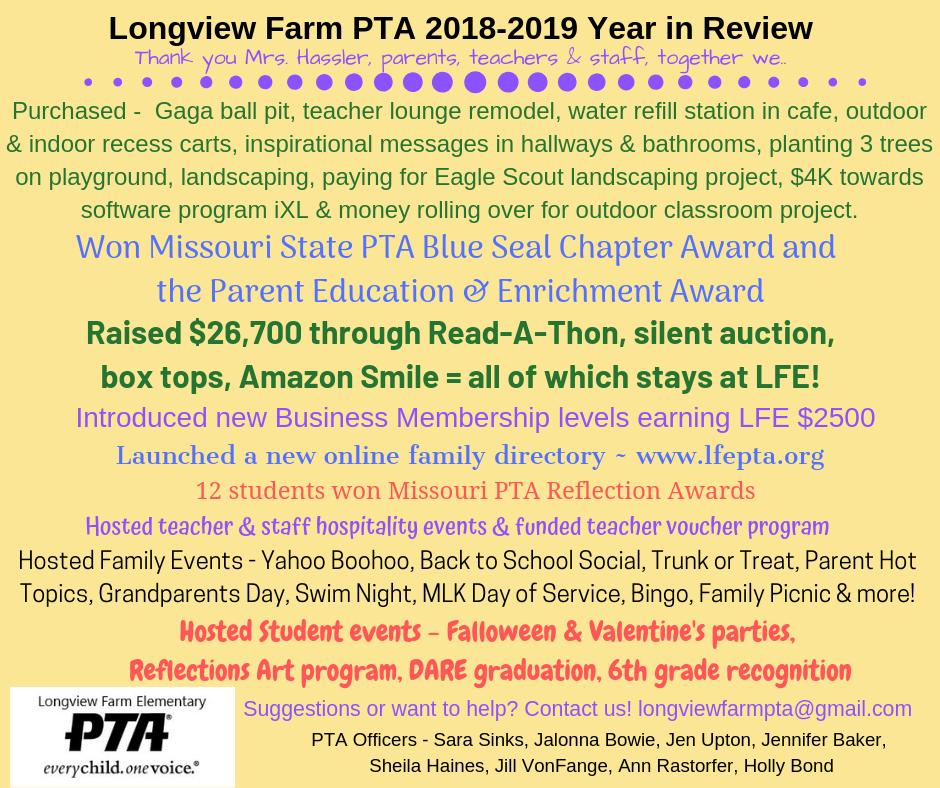 Longview Farm PTA 2018-2019 Year in Review